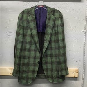 Isaia Green Windowpane Cashmere Blazer Eu 50-US 40